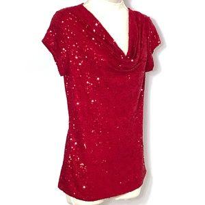 INC Int'l Concepts Top Blouse Red Sequinsr M